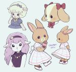 4girls :< :3 :d animal_ears ayu_(mog) bell blonde_hair blue_dress blush bow bowtie dog_ears dress ear_bow ear_ornament food furry furry_female hair_bow hairband holding holding_food ice_cream long_hair looking_at_viewer multiple_girls neck_bell open_mouth original pink_hair rabbit_ears red_bow sheep_ears signature smile white_dress yellow_bow yellow_neckwear
