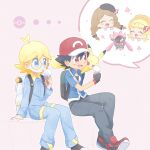 2boys 2girls akasaka_(qv92612) arm_support ash_ketchum backpack bag bangs baseball_cap black_hair blonde_hair blue_eyes blue_jacket blue_jumpsuit bonnie_(pokemon) clemont_(pokemon) commentary_request diancie fingerless_gloves food glasses gloves hat highres holding ice_cream ice_cream_cone jacket jumpsuit licking long_sleeves multiple_boys multiple_girls open_mouth pants pikachu poke_ball_symbol pokemon pokemon_(anime) pokemon_(creature) pokemon_xy_(anime) red_eyes red_headwear serena_(pokemon) shoes short_hair short_sleeves sitting smile tongue tongue_out white_bag
