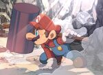 1boy arm_support blue_eyes brown_footwear brown_hair dust_cloud facial_hair from_side full_body gloves hammer hat holding holding_hammer holding_weapon hoshikuzu_pan left-handed light_rays long_sleeves male_focus mario mustache over_shoulder overalls red_headwear rock scratches serious short_hair solo super_mario_bros. superhero_landing weapon weapon_over_shoulder white_gloves