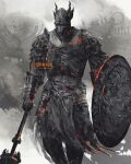 1boy animal_helmet armor artist_name breastplate chainmail cowboy_shot dark_souls_(series) dark_souls_iii eygon_of_carim facing_viewer faulds full_armor gauntlets helmet highres holding holding_shield holding_weapon male_focus pauldrons pelvic_curtain shield shimhaq shoulder_armor solo standing weapon