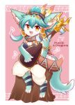 1girl :3 absurdres amber_(gemstone) animal_ear_fluff animal_ears animal_feet animal_nose aqua_fur aqua_hair artist_name bangle bangs bare_shoulders barefoot blue_hair blue_shirt body_fur border bracelet breasts commentary copyright_name earrings english_commentary english_text engrish_commentary feather_hair_ornament feathers firo_(puzzle_&_dragons) fox_ears fox_girl fox_tail full_body furry furry_female hair_ornament hair_ribbon hand_up happy highres holding holding_instrument instrument jewelry kryztar long_hair looking_at_viewer lute_(instrument) multicolored_hair multiple_earrings music musical_note off-shoulder_shirt off_shoulder open_mouth orange_eyes outside_border pants pink_background playing_instrument ponytail puffy_pants puzzle_&_dragons ribbon ring scarf sheet_music shiny shiny_hair shirt sidelocks signature sitting small_breasts smile solo strap_slip tail tied_hair tree_stump two-tone_fur two-tone_hair white_border white_fur white_pants
