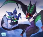bat battery_indicator closed_mouth commentary_request day evolutionary_line eyelashes fang flying green_eyes highres nikkado no_humans noibat noivern open_mouth outdoors pokemon pokemon_(creature) tongue