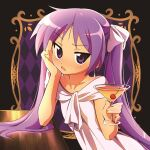 1girl bangs blush cup dress earrings elbow_rest eyebrows_visible_through_hair hair_ribbon hiiragi_kagami holding holding_cup hotaru_iori ichimi_renge jewelry long_hair looking_at_viewer lucky_star parted_lips purple_hair ribbon simple_background solo twintails upper_body violet_eyes white_dress white_ribbon