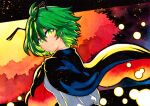 1girl antennae bangs black_cape breasts cape closed_mouth collared_shirt commentary_request eyebrows_visible_through_hair green_eyes green_hair hair_between_eyes long_sleeves looking_at_viewer looking_back orange_cape qqqrinkappp shirt short_hair small_breasts smile solo touhou traditional_media two-sided_cape two-sided_fabric upper_body white_shirt wriggle_nightbug