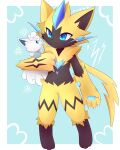 1boy :3 absurdres alolan_vulpix animal_feet animal_hands animal_nose arm_at_side arm_up artist_name black_fur blue_background blue_eyes blue_fur body_fur border claws closed_mouth commentary english_commentary eye_contact furry furry_male happy highres holding holding_pokemon kryztar lightning_bolt_symbol looking_at_another male_focus navel open_mouth outside_border pawpads pokemon pokemon_(creature) sideways_mouth signature slit_pupils smile snowflakes stomach whiskers white_border yellow_fur zeraora