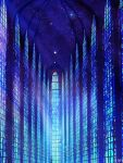 bird blue_theme chinese_commentary commentary_request dated fantasy highres indoors night night_sky no_humans original scenery signature sky skyrick9413 stained_glass star_(sky) starry_sky white_bird window