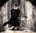 1boy 1girl berserk cloak dragonslayer_(sword) guts_(berserk) hat holding holding_staff huge_weapon multicolored_hair one_eye_closed scar scar_on_face scar_on_nose schierke_(berserk) sepia setz staff standing streaked_hair weapon witch witch_hat