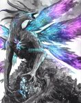 artist_name blue_theme dark_souls_(series) dark_souls_i dragon highres limited_palette monster no_humans open_mouth purple_theme seath_the_scaleless shimhaq