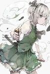 1girl absurdres aiamu_iamu artist_name ascot bangs belt black_belt black_neckwear breasts buttons collar collared_shirt eyebrows_visible_through_hair floral_print flower ghost green_eyes green_skirt green_vest grey_hair grey_hairband hairband highres katana konpaku_youmu konpaku_youmu_(ghost) looking_to_the_side pink_flower puffy_short_sleeves puffy_sleeves shirt short_hair short_sleeves simple_background skirt small_breasts solo standing sword touhou vest water weapon white_background white_shirt white_sleeves