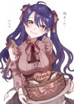 1girl absurdres bangs blue_eyes blue_hair blush bow braid breasts brown_blouse brown_bow brown_shirt brown_skirt cake candy center_frills chocolate clothing_cutout earrings eyebrows_visible_through_hair food frills genderswap genderswap_(mtf) hair_between_eyes hair_bow happy_valentine harusaki_air head_tilt heart heart-shaped_chocolate high-waist_skirt highres holding holding_plate jewelry long_hair long_sleeves looking_at_viewer loveodoro medium_breasts mole mole_under_eye nijisanji parted_bangs pink_nails plate shirt shoulder_cutout simple_background skirt smile solo stud_earrings twin_braids two_side_up underbust virtual_youtuber white_background