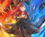 1girl blue_eyes blue_fire blue_hair blue_horns bow bowtie breasts crossed_arms crossed_legs dragon_girl dragon_horns dress fire floating_hair full_body grin high_heels highres horns inferna_dragnis jewelry large_breasts looking_at_viewer multicolored multicolored_eyes multicolored_hair orange_eyes original pale_skin pantyhose red_horns redhead scales sitting smile solo symbol-shaped_pupils throne usagi1923