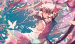 1girl azusa0v0 bangs bare_shoulders blue_background bow brown_hair bug butterfly butterfly_wings closed_mouth detached_sleeves dress eyebrows_visible_through_hair flower flying hair_between_eyes hair_ornament hair_tubes hakurei_reimu highres long_sleeves looking_at_viewer orange_flower petals pink_flower purple_flower red_bow red_dress red_eyes short_hair solo standing tape touhou wide_sleeves wings