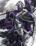1boy armor breastplate cape chainmail commentary cowboy_shot dark_souls_(series) dark_souls_ii english_commentary full_armor gauntlets helmet highres holding holding_weapon making-of_available male_focus over_shoulder pauldrons polearm purple_theme shimhaq shoulder_armor solo standing velstadt_the_royal_aegis weapon weapon_over_shoulder