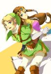1girl back-to-back back_to_back blonde_hair blue_eyes brown_hair couple earrings elbow_gloves gloves jewelry link long_hair muse_(rainforest) nintendo pointy_ears princess_zelda smile the_legend_of_zelda tiara twilight_princess