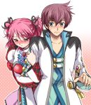 1girl arm_hug asbel_lhant blush brown_eyes cheria_barnes couple embarrassed kurimomo pink_hair sword tales_of_(series) tales_of_graces two_side_up weapon