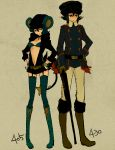 costume garters honchkrow l_hakase luxray nintendo personification pokemon thigh-highs thighhighs