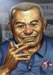 cigarette facial_hair grin male matataku ojisan old_man pig realistic smile smoking stubble teeth yokohama_kaidashi_kikou