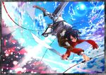 black_hair blue_eyes boots dual_wielding jacket mikasa_ackerman scarf shingeki_no_kyojin sorairo8nanairo sword thigh_strap weapon