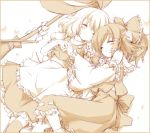 beige blush border bow broom closed_eyes gohei hair_bow hair_tubes hakurei_reimu hand_behind_head hand_holding hat hat_removed headwear_removed holding_hands kirisame_marisa lucie lying monochrome multiple_girls on_back on_side sleeping smile thigh-highs thighhighs touhou
