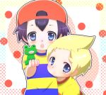 black_hair blonde_hair blue_eyes child hat lucas mother_(game) mother_2 mother_3 multiple_boys ness pikanchu shirt striped striped_shirt