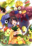 ayase08 bellsprout black_hair blush bulbasaur cacnea chikorita erika_(pokemon) hairband happy highres hoppip japanese_clothes jumpluff kimono leafeon oddish open_mouth poke_ball pokeball pokemon pokemon_(game) pokemon_gsc pokemon_rgby pun2 short_hair skiploom smile sunflora tangela turtwig victreebel vileplume