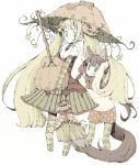abara_heiki animal_ears blonde_hair broom brown_eyes brown_hair highres long_hair multiple_girls pantyhose pointy_ears pumpkin tail twintails very_long_hair