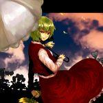 bad_id cloud clouds flower green_hair holding holding_flower kazami_yuuka looking_back nijiru petals plaid plaid_skirt plaid_vest red_eyes shaded_face short_hair skirt skirt_set smirk solo sunflower sunset touhou umbrella