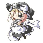 aoblue blonde_hair blue_eyes chibi hat highres kirisame_marisa ribbon solo touhou wink witch_hat