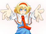 1girl alice_margatroid blonde_hair blue_eyes foreshortening hairband looking_at_viewer pose sen'yuu_yuuji short_hair touhou