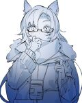 1girl animal_ears arknights blue_theme commentary_request fang_(arknights) fang_(cruciata)_(arknights) fur-trimmed_jacket fur_trim highres horse_ears id_card jacket lanyard long_hair looking_at_viewer mirin_chikuwa monochrome official_alternate_costume scarf semi-rimless_eyewear simple_background solo straight-on under-rim_eyewear upper_body white_background