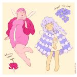 2girls :o arm_at_side bangs barefoot bleeding_heart_(flower) bleeding_heart_(the_sprite_and_the_gardener) blue_cape blue_eyes blue_flower blue_hair blue_theme border bow bowtie braid cape character_name dot_mouth dot_nose dress expressionless fairy fairy_wings fat flower forget-me-not_(flower) forget-me-not_(the_sprite_and_the_gardener) full_body hand_on_own_arm hand_on_own_cheek hand_on_own_face hand_up head_tilt lavender_bow lavender_neckwear leaning_to_the_side leg_up legs_apart light_blue_hair long_hair long_sleeves looking_at_viewer looking_to_the_side low_twintails multiple_girls nail_polish no_pupils open_mouth pale_color personification pink_dress pink_eyes pink_flower pink_hair pink_theme puffy_long_sleeves puffy_sleeves purple_bow purple_nails purple_neckwear rii_abrego short_dress short_hair signature simple_background standing straight-on tareme the_sprite_and_the_gardener twin_braids twintails very_short_hair white_border wings yellow_background yellow_dress