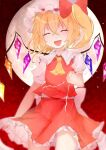 1girl :d ascot bangs blush bow breasts clenched_hand closed_eyes closed_mouth commentary_request cowboy_shot crossed_bangs crystal electricity eyebrows_visible_through_hair fang flandre_scarlet full_moon fuua_(fxae3875) hair_between_eyes hair_bow hand_up hat mob_cap moon night night_sky one_side_up open_mouth petticoat puffy_short_sleeves puffy_sleeves red_bow red_skirt red_sky red_vest short_hair short_sleeves skin_fang skirt sky small_breasts smile solo touhou vest white_headwear wings yellow_neckwear