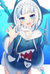 1girl :d animal_costume blue_eyes blue_nails gawr_gura highres hololive hololive_english hood looking_at_viewer multicolored_hair open_mouth shark_costume smile solo streaked_hair virtual_youtuber white_hair yataga_tani