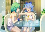 2girls alternate_costume bare_arms bare_shoulders blue_bow blue_eyes blue_hair blush bow brain_freeze cirno commentary_request commission cream cream_on_face daiyousei dessert dress eating finger_to_mouth flat_chest food food_on_face glass green_hair hair_bow holding holding_spoon ice ice_cream ice_wings indoors looking_at_another multiple_girls one_eye_closed open_mouth outdoors parfait plant potted_plant ribbon scrunchie short_hair shorts sitting skeb_commission smile sody spoon table touhou whipped_cream wings wrist_scrunchie
