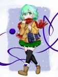 1girl alternate_costume ankle_boots bag black_legwear boots brown_footwear buttons eyeball fur-trimmed_boots fur_boots fur_trim gozen_(gozen0707) green_eyes green_hair green_shirt green_skirt heart heart_of_string highres jacket komeiji_koishi miniskirt no_hat no_headwear plaid plaid_scarf red_scarf scarf shirt shoulder_bag simple_background skirt snowflakes solo thigh-highs third_eye touhou white_background winter_clothes yellow_jacket