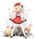 1girl absurdres ahoge bare_shoulders blonde_hair bow bowtie cabbie_hat cherry_hair_ornament child dodoco_(genshin_impact) dress explosion flower_hat food-themed_hair_ornament full_body genshin_impact gloves hair_between_eyes hair_ornament hand_on_hip hat highres jumpy_dumpty klee_(genshin_impact) kneehighs one_eye_closed open_mouth pointy_ears red_dress red_eyes sanmery sidelocks solo spread_legs standing teeth upper_teeth white_gloves yellow_pupils