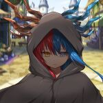 1girl bangs blue_eyes blue_fire blue_hair blue_horns blurry blurry_background bright_pupils castle cloak commission commissioner_upload day dragon_girl dragon_horns expressionless eyebrows_visible_through_hair fire food highres hood hood_up hooded_cloak horns inferna_dragnis long_hair looking_at_viewer market market_stall original outdoors shaded_face shield solo standing usagi1923 white_pupils