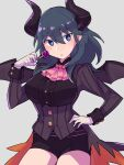 1girl alternate_costume ascot bangs black_horns black_shirt black_shorts blue_eyes blue_hair blush breasts buttons byleth_(fire_emblem) byleth_(fire_emblem)_(male)_(cosplay) byleth_eisner_(female) byleth_eisner_(male) candy cosplay demon_girl demon_horns demon_wings do_m_kaeru eyebrows_visible_through_hair fire_emblem fire_emblem:_three_houses fire_emblem_heroes food gloves grey_background hair_between_eyes halloween halloween_costume hand_on_hip holding holding_candy holding_food holding_lollipop horns large_breasts lollipop long_hair long_sleeves looking_at_viewer parted_lips pink_neckwear shirt short_shorts shorts simple_background solo striped striped_shirt underbust white_gloves wings