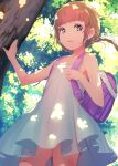 1girl backpack bag bangs bare_arms bare_shoulders blunt_bangs blush braid brown_hair collarbone commentary_request commission dappled_sunlight day dress flat_chest forest highres light_rays looking_at_viewer nature no_panties original outdoors panties panties_removed parted_lips randoseru skeb_commission sleeveless sody solo sunlight tree twin_braids underwear white_dress white_panties