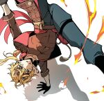 1boy abs bangs black_shirt blonde_hair breakdance dog_tags fake_horns fire genshin_impact gloves hair_between_eyes handstand headband highres horned_headwear horns jacket looking_at_viewer male_focus open_mouth pants rome_romedo shadow shirt simple_background solo tassel thoma_(genshin_impact) white_background yellow_eyes