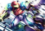 1girl arm_cannon arm_grab e.m.m.i._(metroid) highres looking_at_another metroid metroid_dread motion_blur power_armor robot samus_aran shards visor weapon yupi828
