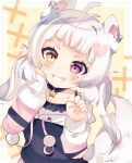 1girl absurdres ahoge animal_ears bangs blush bow chii_paws eyebrows_visible_through_hair fox_ears fox_tail grin hair_ornament heterochromia highres indie_virtual_youtuber jewelry long_hair long_sleeves low_twintails messy_hair mole multicolored_hair necklace nhshio piercing pink_eyes short_eyebrows sleeves_past_elbows smile solo star_(symbol) streaked_hair tail twintails white_hair yellow_eyes