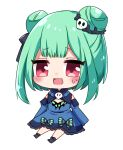 1girl absurdres animal_print bangs bare_shoulders black_bow blue_dress blush bow butterfly_print chibi detached_sleeves double_bun dress eyebrows_visible_through_hair green_hair grey_footwear hair_bow hair_ornament highres hololive long_sleeves looking_to_the_side open_mouth puffy_sleeves red_eyes shinonome_asu shoes short_hair simple_background sitting skull_hair_ornament smile solo uruha_rushia white_background wide_sleeves