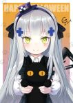 1girl animal apron assault_rifle bangs black_apron black_cat black_hairband black_ribbon cat chicamort collared_shirt commentary_request dated eyebrows_visible_through_hair facial_mark frilled_apron frilled_sleeves frills girls_frontline gradient gradient_background green_eyes gun h&k_hk416 hair_ornament hair_ribbon hairband halloween hat hk416_(girls'_frontline) holding holding_animal holding_cat light_blush long_hair long_sleeves looking_at_viewer mini_hat official_alternate_costume orange_background paw_print ribbon rifle shirt silver_hair smile solo upper_body very_long_hair weapon white_shirt younger
