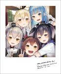 5girls :d amatsukaze_(kancolle) bangs black_hair black_hairband blonde_hair blue_eyes blue_hair blush brown_eyes brown_hair choker commentary_request dated double_v dress elbow_gloves english_text eyebrows_visible_through_hair gloves gradient_hair grin hair_ornament hair_tubes hairband hat hatsukaze_(kancolle) highres kantai_collection long_hair looking_at_viewer mini_hat multicolored_hair multiple_girls neckerchief open_mouth partial_commentary sailor_collar sailor_dress school_uniform serafuku sheep_sleep shimakaze_(kancolle) short_hair short_hair_with_long_locks silver_hair smile teeth tokitsukaze_(kancolle) two_side_up v white_gloves yellow_eyes yukikaze_(kancolle)