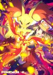 1girl bare_arms black_legwear blurry blush brown_eyes brown_hair collared_shirt commentary_request copyright_name delphox eyelashes eyewear_on_headwear fire hat long_hair open_mouth pleated_skirt pokemon pokemon_(creature) pokemon_(game) pokemon_xy pon_yui red_headwear red_skirt serena_(pokemon) shirt skirt sleeveless sleeveless_shirt smile sunglasses thigh-highs tongue white-framed_eyewear