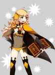 141hio 1girl ahoge bangs bodystocking book cape covered_navel fire_emblem fire_emblem_fates grey_background grey_eyes holding holding_book holding_weapon long_hair open_mouth ophelia_(fire_emblem) solo thigh-highs weapon