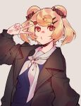 1girl animal_ears arknights bear_ears blonde_hair blue_dress brooch brown_jacket candy_hair_ornament dress food-themed_hair_ornament grey_background gummy_(arknights) hair_ornament hand_up jacket jewelry long_sleeves looking_at_viewer mirin_chikuwa neckerchief open_clothes open_jacket red_eyes sailor_collar sailor_dress school_uniform short_hair simple_background solo upper_body v white_neckwear white_sailor_collar