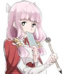 +_+ 1girl fire_emblem fire_emblem_fates hair_ornament harukawa_(aonori1022) hime_cut holding holding_pen japanese_clothes looking_at_viewer lowres mitama_(fire_emblem) pen pink_hair upper_body