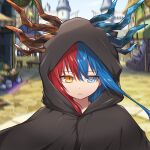 1girl bangs blue_eyes blue_fire blue_hair blue_horns blurry blurry_background bright_pupils castle cloak commission commissioner_upload day dragon_girl dragon_horns expressionless eyebrows_visible_through_hair fire food highres hood hood_up hooded_cloak horns inferna_dragnis long_hair looking_at_viewer market market_stall original outdoors shield solo standing usagi1923 white_pupils